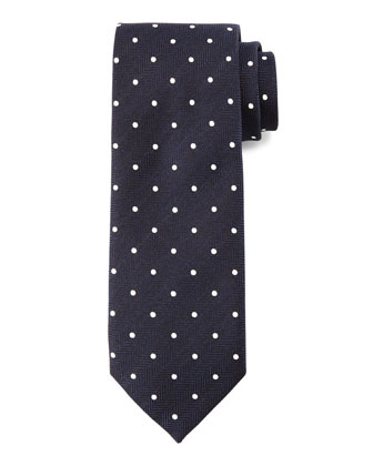Herringbone Dot-Print Silk Tie, Navy