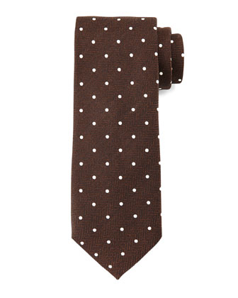 Herringbone-Dot Print Tie, Brown