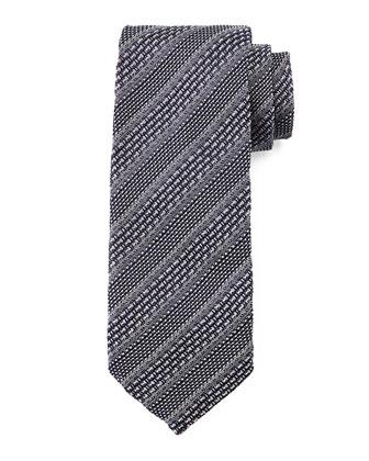 Striped Knit Tie, Gray