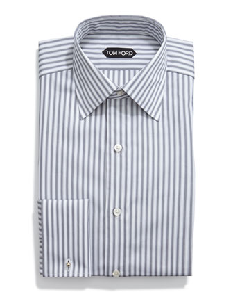 HD Striped French Cuff Dress Shirt, Gray