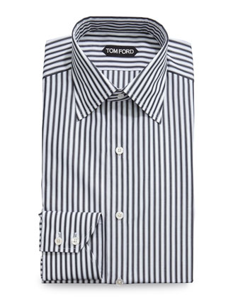 High Definition Striped Dress Shirt, Black