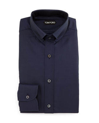Button-Down Collar Solid Shirt, Blue