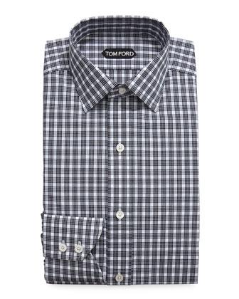 Thick Check Dress Shirt, Black/White