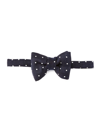Herringbone Polka-Dot Bow Tie, Blue