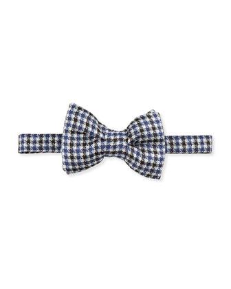 Houndstooth-Stripe Bow Tie, Blue