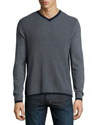 Edgeware Road Textured Cashmere-Blend Sweater, Charcoal