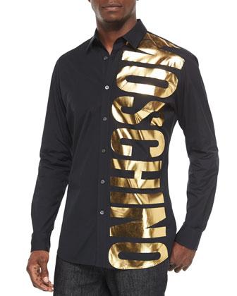 Gold Logo Long-Sleeve Shirt, Black