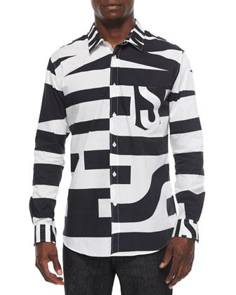 Large Logo-Print Button-Down Shirt, Black/White