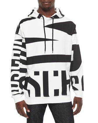 Large Logo-Print Hoodie, Black/White