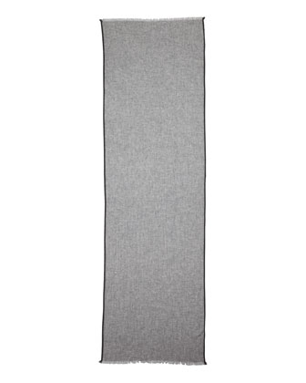 Cashmere Side-Tipped Scarf w/Gift Box, Light Gray