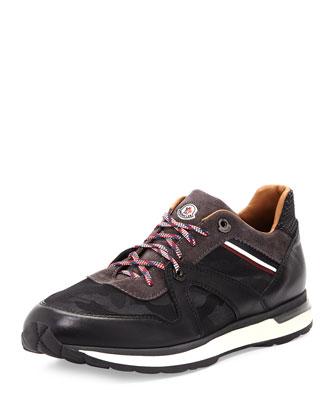 Fabian Mixed-Media Trainer Sneaker, Gray