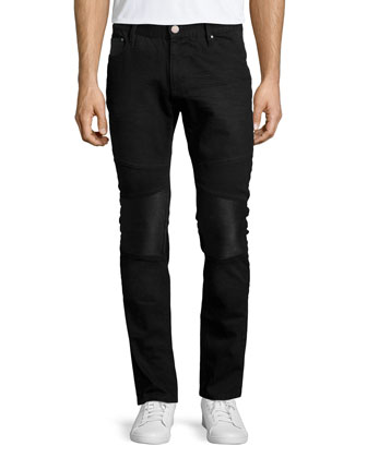 Darrell Five-Pocket Moto Denim Jeans, Gray/Black