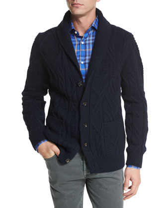 Cashmere Shawl-Collar Cable-Knit Cardigan, Navy