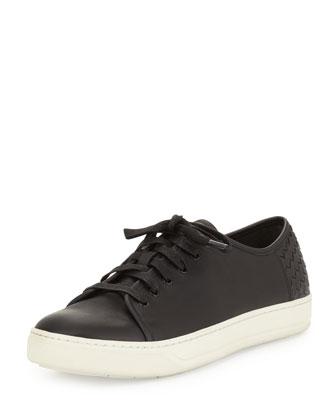 Austin Woven Leather Sneaker, Black