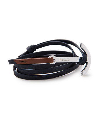 Men's Two-Tone Leather Anchor Bracelet, Blue/Brown