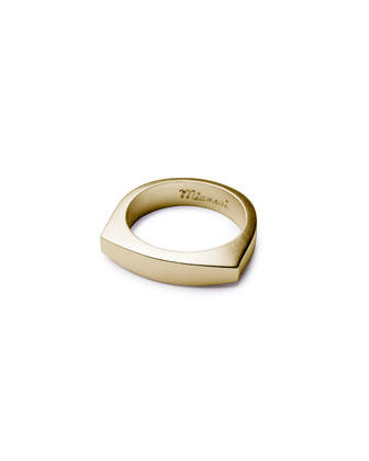 Men's Brushed Golden Flat-Top Ring