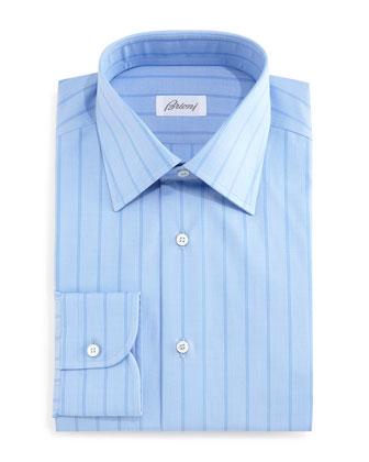 Tonal Wide-Stripe Dress Shirt, Blue