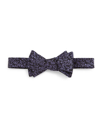 Floral-Print Silk Bow Tie, Purple