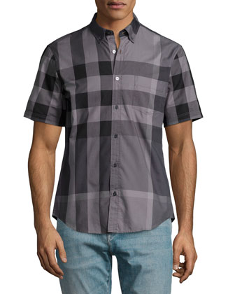 Fred Exploded-Check Woven Shirt, Charcoal