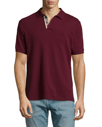 Short-Sleeve Pique Polo Shirt, Dark Red