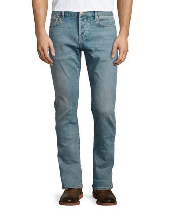 Five-Pocket Straight-Leg Denim Jeans, Indigo