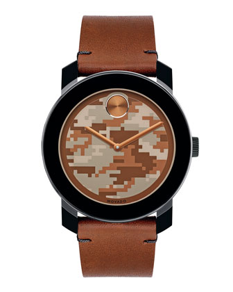 42mm Bold Watch, Camo/Cognac