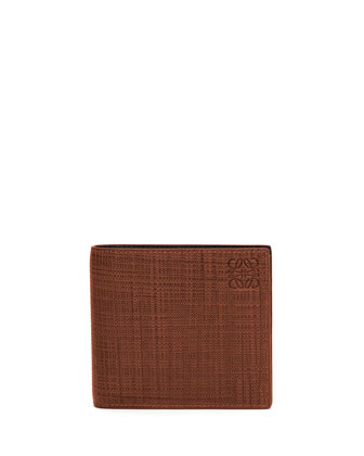 Textured Leather Bi-Fold Wallet, Brown/Tan