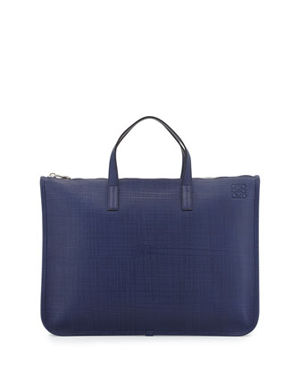 Slim Textured Leather Briefcase, Navy