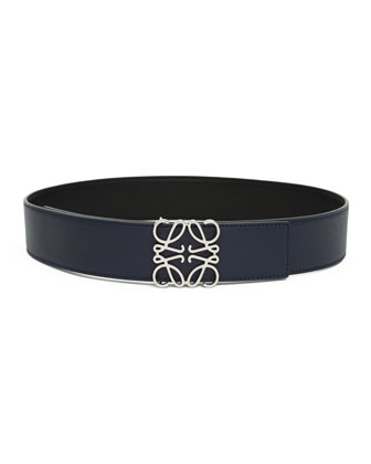 Reversible Anagram-Buckle Leather Belt, Black/Navy