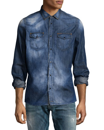 Faded Button-Down Denim Shirt & Thavar 0843S Washed Skinny Jeans