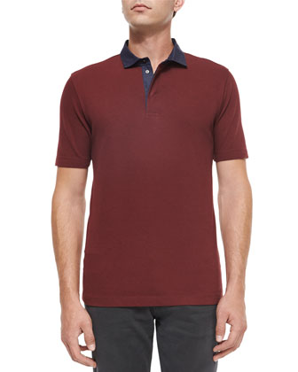 Chambray-Collar Short-Sleeve Polo Shirt, Burgundy