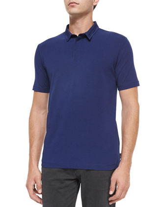 Short-Sleeve Polo Shirt with Double Collar & Five-Pocket Stretch-Cotton Pants