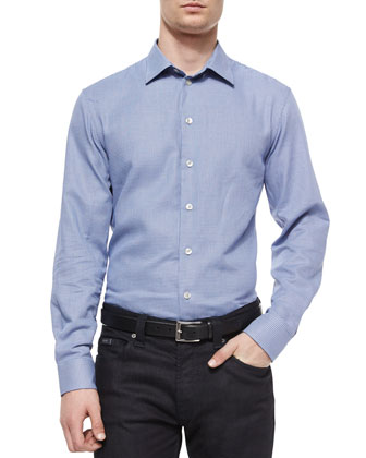 Mandarin-Collar Woven Shirt & Five-Pocket Slim-Fit Stretch Jeans