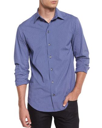 Check Long-Sleeve Woven Shirt, Navy