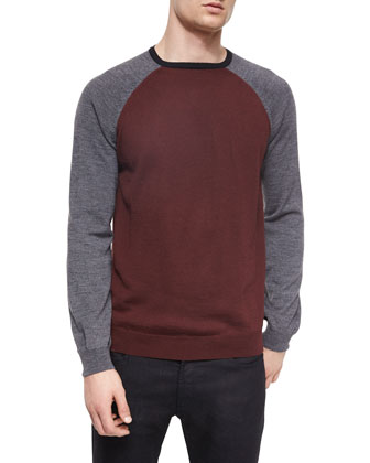 Colorblock Wool-Blend Baseball Sweater, Gray