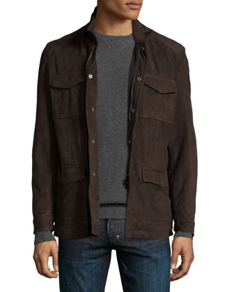 Suede Traveler Jacket, Dark Brown