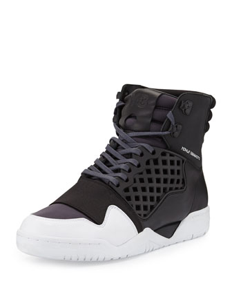 Held Enforcer Leather High-Top Sneaker, Black/White
