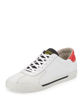 Rydge Low-Top Leather Sneaker, White/Red