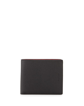 Pebbled Leather Bi-Fold Wallet, Black
