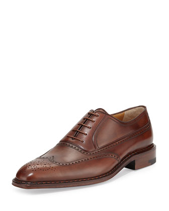 Medallion Wing-Tip Leather Oxford, Caramel