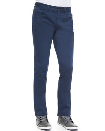 Five-Pocket Stretch-Cotton Pants, Dark Blue