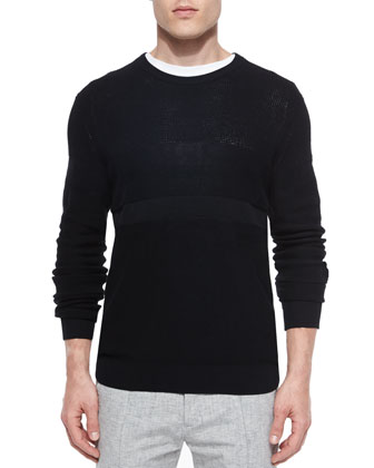 Multi-Stitch Crewneck Sweater, Black