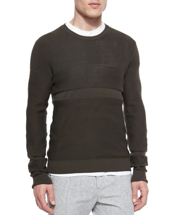 Multi-Stitch Crewneck Sweater, Green