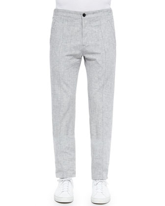 Pleated Track Trousers, Gray
