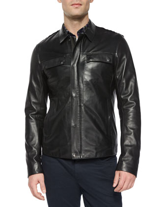 Raw-Edge Leather Jacket, Black