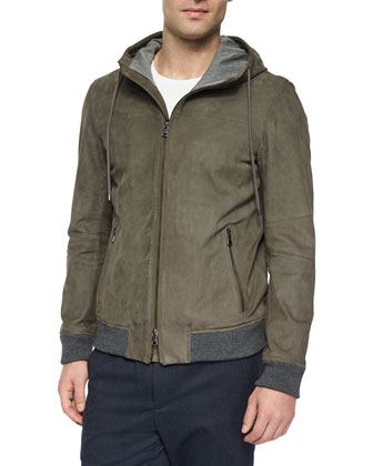 Nubuck Leather Hooded Jacket, Gray