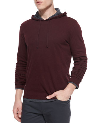 Double-Layer Knit Hoodie, Bright Red