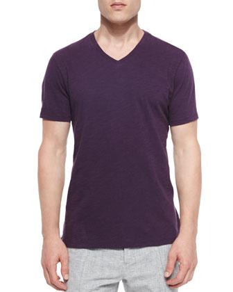 Melange Plaid Sport Shirt, Slub Knit V-Neck Tee & Pleated Track Trousers ...