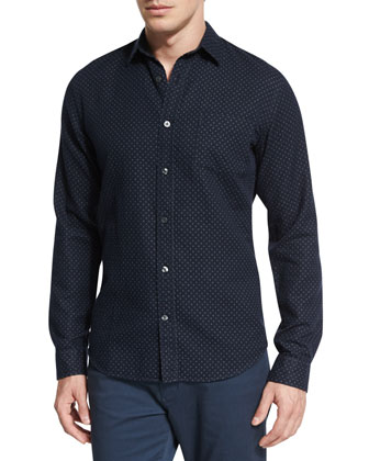 Double-Face Geo-Print Sport Shirt, Navy