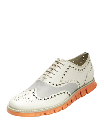 ZeroGrand Wing-Tip Oxford, Light Gray